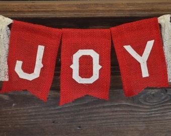 Joy Burlap Banner, Christmas Banner, Burlap Christmas Banner, Rustic Christmas Banner, Christmas Photo Prop, Mantle Decor