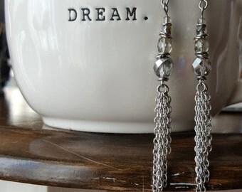 Long earrings, stainless steel, Czech glass beads fire polished ,cristal