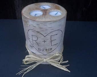 Large Birch Candle Holder, Log three Tea Light Candle Holder, Rustic Candle Holder, Birch Log Candle Holder Centerpiece, Wedding Centerpiece