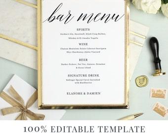 Wedding Bar Menu Template, Editable Bar Menu Printable, Word or Pages, Mac or PC, Modern Calligraphy, Instant DOWNLOAD