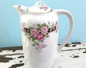 Antique Chocolate or Coffee Pot, Antique Server, Coffee Server, Vintage China, Bridal Shower Tea, Shabby Chic Decor, Pink