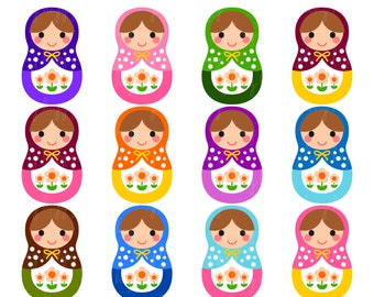 70% OFF Matryoshka Cliparts, Matryoshka Clipart Graphics, Personal & Small Commercial Use, Instant Download
