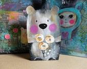 SALE Brown Teddy Bear on Wood. Painted Wood. Hand painted.Home Decor. Cute Creatures. Nursery