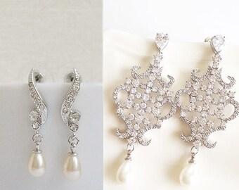 Silver - CZ & pearl earrings