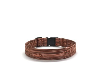 Woodgrain Dog Collar, Lumberjack Dog Collar