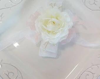 Ivory White and Blush Wedding Corsage