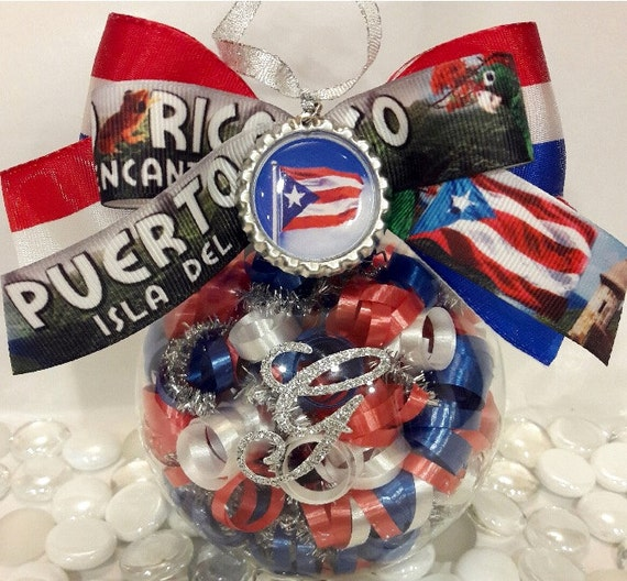 Puerto Rico Flag Glass Ornament Puerto Rican Christmas Theme
