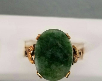 Clark's and Coombs 10K Gold Filled Green Agate Ring