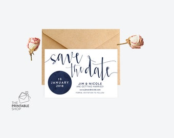 Navy wedding save the date, Modern save the date, Printable save the date, Watercolor save the date, Printable wedding stationery