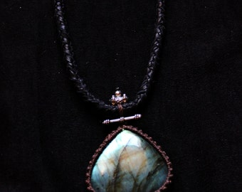 SALES !!!Labradorite Leather Necklace - Tribal - Ethnic - Boho - Gypsy - Original - Gems - Travelling