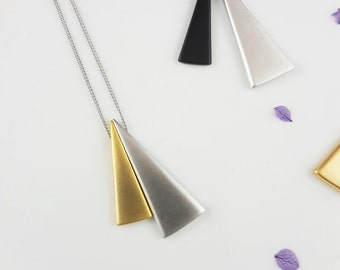 Simple Two Tone Double Triangle Long Pendant Necklace, Gold Chain