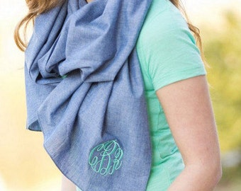 SALE! Monogrammed Chambray Scarf, Personalized Scarf, Custom Chambray Scarf, Embroidered Scarf, Chambray Scarf, Initial scarf