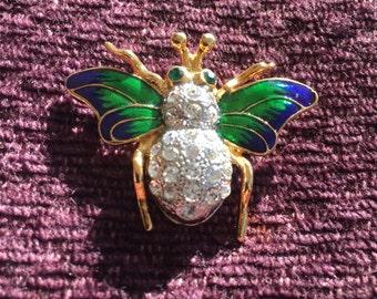 Rhinestone Bee Figural Brooch, Vintage Bee Figural, Royal Russian Bee Figural