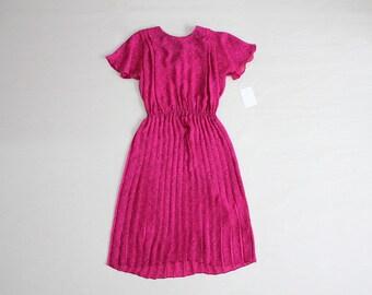 flutter sleeve dress | sheer floral dress | bright pink dress