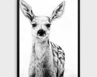 Baby Deer Print | Dear Print, Dear Art, Fawn Wall Art, Baby Animal Nursery Art, Fawn Print, Forest Print, Baby Forest Animal, Nature print