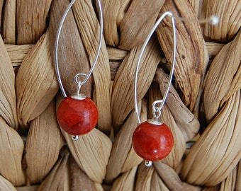coral earrings sterling silver