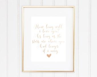 Ellie Goulding Lyrics Print, How Long Will I Love You, Real Foil Print, Home Decor,