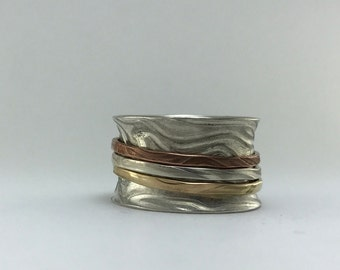 Sterling Silver Spinner Ring with 3 Different Metals Sterling Silver, Gold Plated, Copper