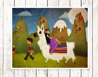Llama Print Art Childrens Wall Art  Nursery Decor Whimsical Print Llama Nursery Art Print  Baby Gift Toddler Gift Llama Wall Art Llama Art