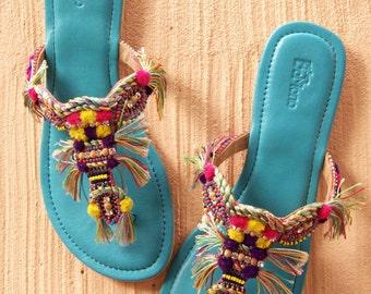 Pom Pom Sandals, Tassel Sandals,Beaded Sandals, Bohemian Sandals, Embroidered Shoes, Flat Sandals, Leather Sandals