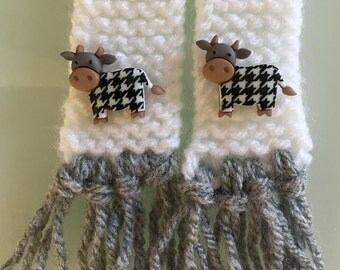 Scarf for cat or small dog, cow loving cat scarf, farm cat, cow loving dog scarf, small farm dog scarf, knitted pet scarf, handmade scarf