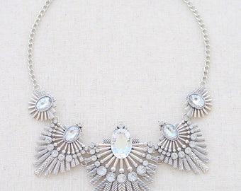 Statement necklace silver, silver statement necklace, statement necklace crystal, crystal statement necklace, silver necklace, rhinestone