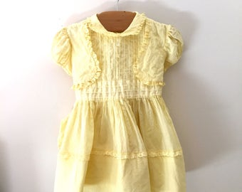 Vintage 1950's a Cari Classic Yellow Baby Dress, Vintage Yellow Easter Baby Dress, Size 9-12m