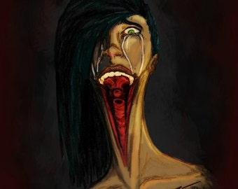 5x7 Speak No Evil Print - Digital Painting - Bone Art - Macabre - Gothic - Metal - Wall Decor - Oddities - Curiosities - Gore - Dark Theme