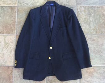 Vintage PENDLETON Navy Wool Flannel Blazer 40R Ivy League Trad