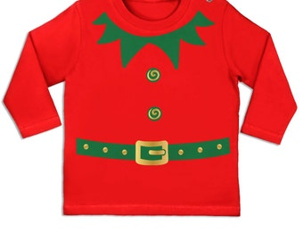 Elf Costume (Green Detail) long sleeve baby t-shirt