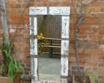 Large Full Length Reclaimed Wooden Distressed Mirror from Antique Pine