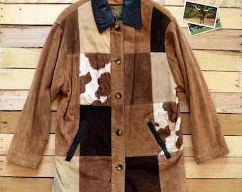 Vintage Women's M-L 90s EXPRESS Tan Brown Suede Leather Patchwork Jacket Cowprint Western Cowgirl Coat