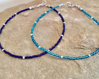 Blue or purple seed bead anklet/ankle bracelet, seed bead anklet, sterling silver anklets, boho anklets, body jewelry, summer anklet