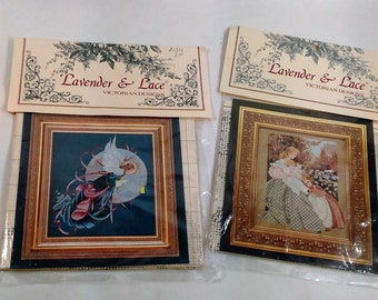 2 Victorian Design Lavender & LaceCross Stitch Sampler/Morning Song And Blue Moon Angel A