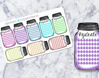Weekly Frosty Hydrate Mason Jar Stickers / Drink Up / Side Bar / Erin Condren, MAMBI, Kikki K, Filofax, Scrapbook