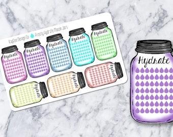 Weekly Frosty Hydrate Mason Jar Stickers / Drink Up / Side Bar / Erin Condren, MAMBI, Kikki K, Filofax, Scrapbook
