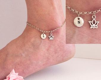 Silver lotus anklet, lotus anklet, ankle bracelet, silver anklet, anklet, beach jewellery, anklet, yoga jewellery,SPLOTAN01