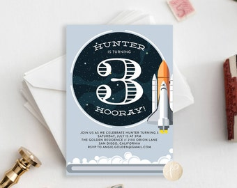 Printable Kid's Birthday Party Invitation || Space Theme, Shuttle, Astronaut, Blast Off