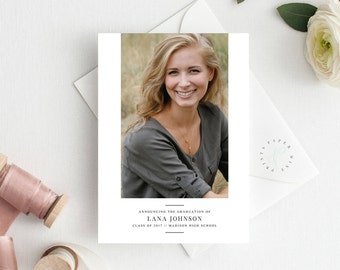 Printable Graduation Announcement || Graduate, Simple, Modern, Minimal, One Photo, 2017, High School, College