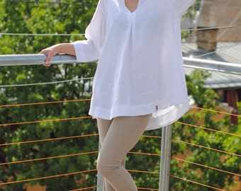 White linen tunic, linen tunic with pockets, linen womens clothing, linen tunic dress, linen tunics for women, linen top for women