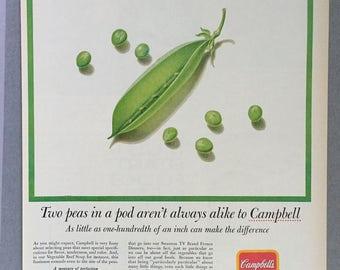 1961 Campbell's Vegetable Beef Soup Print Ad - Peas - Vintage Food Ad