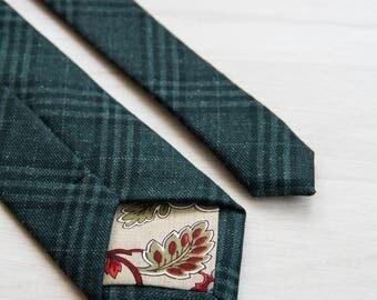 Green plaid tie, Plaid woolen necktie, Men's slim tie, Mens green check luxury wool necktie, gift for men