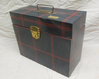 plaid vintage metal file box blue and red faux denim painted metal filing cabinet vintage