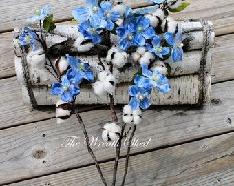 Ships Free, Set of 3 Dogwood & Cotton Branches, 2nd Anniversary Cotton, Cotton Stems, Natural Cotton Bolls, Farmhouse Decor, Wedding Decor