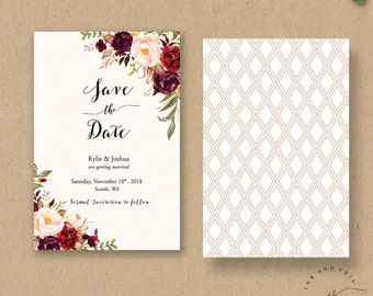 Bohemian Save The Date card, Fall Wedding Save the Dates, Wedding Announcement, Marsala Burgundy Peach Blush, Photo Save the Date - Kylie