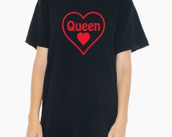 King of Hearts OR Queen of Hearts (pick one) - Black, Gray or White T-Shirt