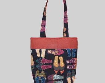 Sandal Print Handbag, Handmade Cotton Bag, Beach Bag, Vacation Bag, Resort Tote