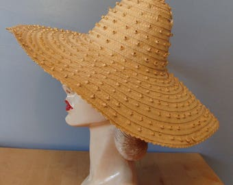 Vintage Sun Hat Large Brim Woven Straw Beach Hat Large Statement Fabulous Resort Oversize Textured 60's Summer Tan Neutral 1960's Glam