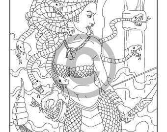 medusa coloring page printable adult coloring book page instant digital download coloring page