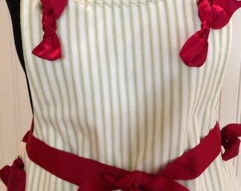 Full apron spring green ticking ecru eyelet lace green blue morning glory burgundy  grosgrain ribbon